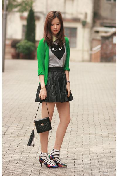 lime green wwwromwecom accessories - green wwwyesstylecom cardigan - heather gra