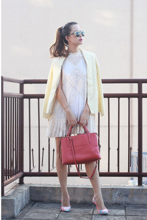 ivory free people dress - light yellow chictopia shop blazer - salmon coach bag