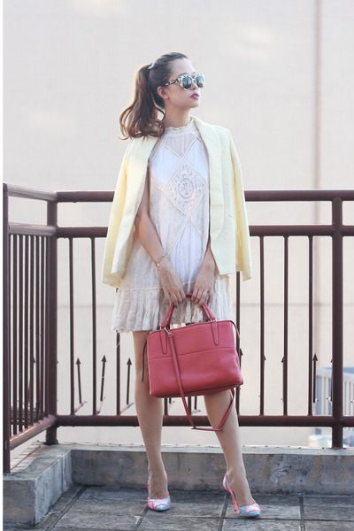salmon coach bag - ivory free people dress - light yellow chictopia shop blazer