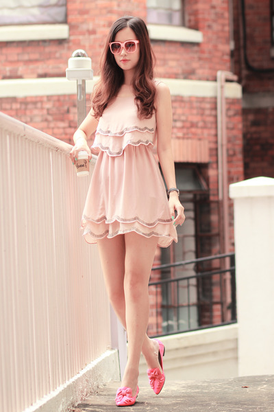 light pink Choies dress - bubble gum mexyshop glasses - hot pink Choies loafers
