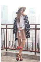black romwe blazer - tan Choies hat - hot pink Valentino bag