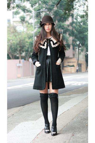 black Zara skirt - dark brown BCBG hat - black Alexander Wang wedges