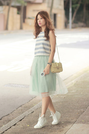 lime green Chicwish skirt - light yellow Valentino bag