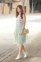 lime green Chicwish skirt - light yellow Valentino bag