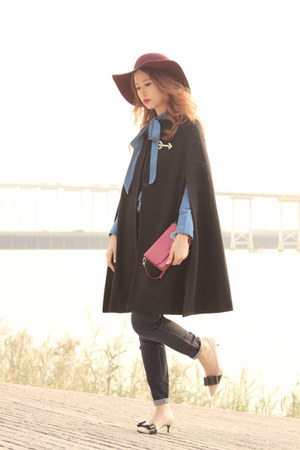 black house of v coat - navy Chicwish shirt - eggshell Miu Miu heels