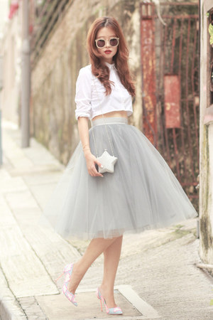 heather gray alexandra grecco skirt - white Choies shirt - silver Choies bag