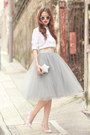 White-choies-shirt-silver-choies-bag-heather-gray-alexandra-grecco-skirt