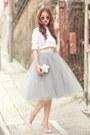 White-choies-shirt-silver-choies-bag-heather-gray-alexandra-grecco-skirt