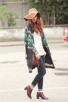 teal free people cardigan - magenta Miista boots - navy free people jeans