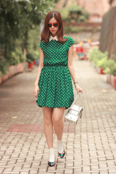 green yesstylecom dress - off white Amliya bag - red H&M sunglasses