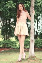 light pink ianywear top - light pink romwe dress - tan rare london skirt