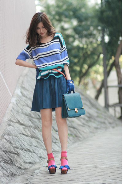 blue viktor &amp; rolf heels - hot pink H&amp;M socks - orange Zara belt