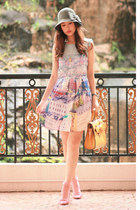yellow romwe bag - periwinkle laurustinus dress - light pink Prada heels