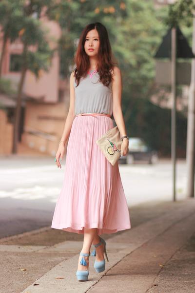 light pink Style by Marina dress - salmon Prada bag - periwinkle Sugarfree heels