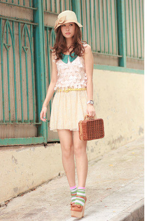 cream Zara skirt - tawny Chicwish bag - chartreuse H&M socks