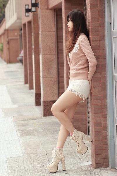 eggshell sleeh boots - white romwe shorts - peach ianywear cardigan