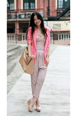 pink Anna Rose blazer - pink Pull & Bear intimate - beige Fendi bag