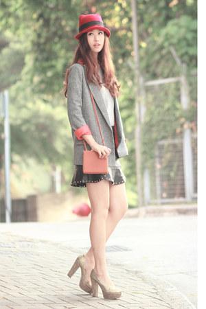 black beckybwardrobe skirt - ruby red awwdore hat - heather gray romwe sweater