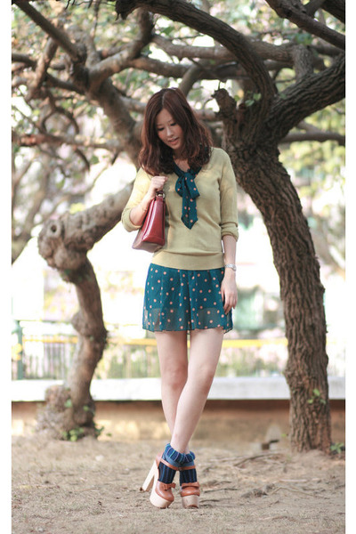 tawny Opening Ceremony heels - teal yesstylecom dress - lime green FCUK sweater