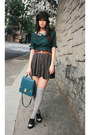 Green-no-brand-dress-dark-brown-pull-bear-skirt-black-alexander-wang-shoes