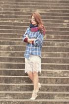 magenta romwe scarf - ivory romwe skirt - white Valentino heels