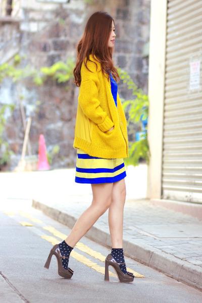 yellow H&M cardigan - blue united styles dress - heather gray Miu Miu heels