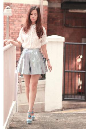 periwinkle Sugarfree skirt - silver romwe skirt - ivory Choies shirt