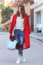 Red-initial-coat-navy-front-row-shop-jeans-heather-gray-longchamp-bag
