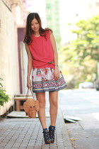 tan kate spade bag - coral Chicwish dress - blue becky bloomwoods wardrobe socks