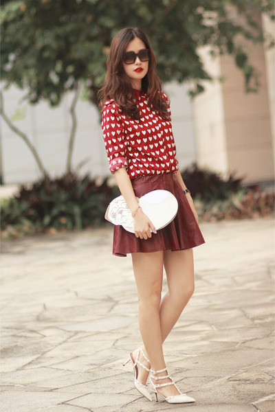 ruby red romwe shirt - white uuendy lau bag - brick red romwe skirt