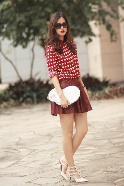 ruby red romwe shirt - white uuendy lau bag - brick red romwe skirt