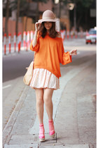 bubble gum RED valentino wedges - carrot orange Zara sweater