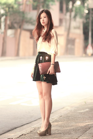 green romwe skirt - cream romwe shirt