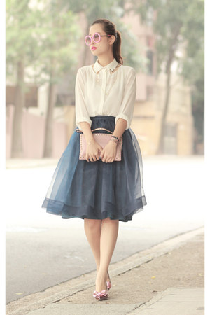 teal Chicwish skirt - white Jovonna shirt - pink Valentino bag