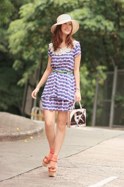 tan Opening Ceremony heels - blue becky bloomwood wardrobe dress