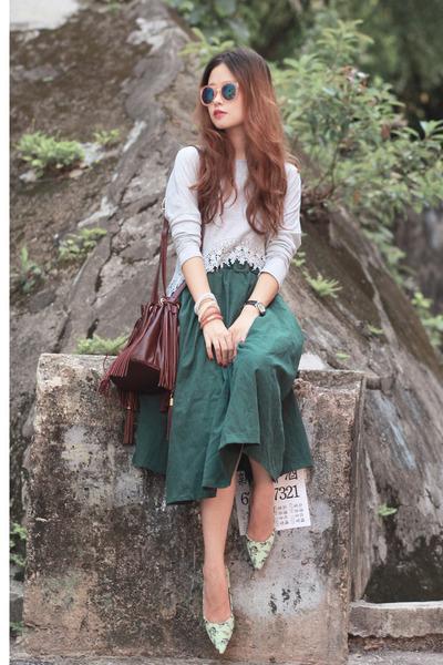 dark green romwe skirt - crimson Onna Ehrlich bag - peach Monki sunglasses