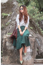dark green romwe skirt - crimson Onna Ehrlich bag - peach Monki sunglasses