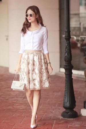 eggshell razan alazzouni skirt - white Burberry shirt