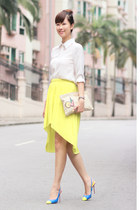 light yellow Style by Marina skirt - white romwe shirt