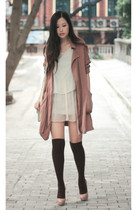 beige Christian Louboutin shoes - pink moolstory company coat