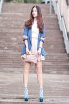 blue Yesstyle blazer - white romwe shirt - beige ianywear skirt