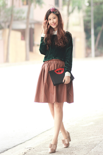 forest green romwe sweater - ruby red accessoriesmall hat - black awwdore bag
