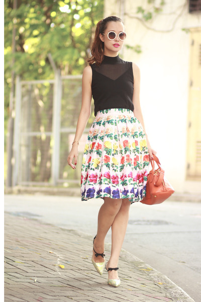 deep purple Choies skirt - black karen millen top