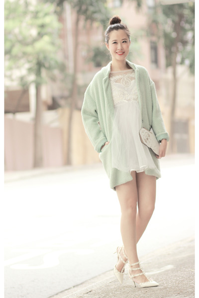 green Choies coat - white romwe dress