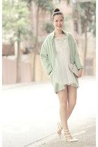 white romwe dress - green Choies coat