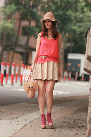 eggshell Zara skirt - beige Monki hat - tan kate spade bag - maroon H&amp;M socks