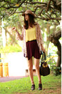 Maroon-yesstyle-skirt-light-pink-lauves-cardigan-dark-brown-vero-cuoio-heels