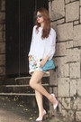 Periwinkle-front-row-shop-shorts-navy-ray-ban-sunglasses