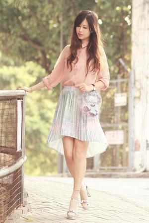 periwinkle Sheinside skirt - light pink Chicwish shirt