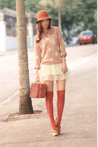 eggshell H&M sweater - bronze Chicwish bag - white natural colour skirt